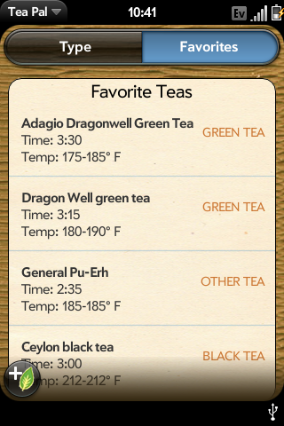 Save your favorite tea info here...