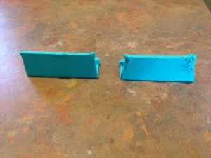 Left: Layer cooler added to Makerbot replicator  Right: None added to Makerbot.