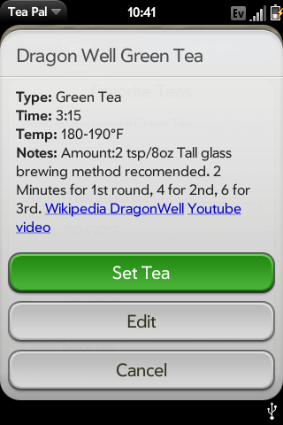 Looking at a favorite tea, one of the presets from the interactive picker in fact.