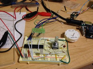 Early breadboard layout for testing code.